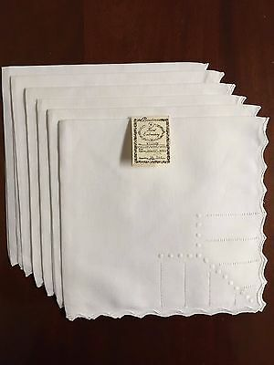 "Scallop/Hemstitch/Dots Pure Linen Dinner Napkins 20""X20"": Set of 6: N71248W"