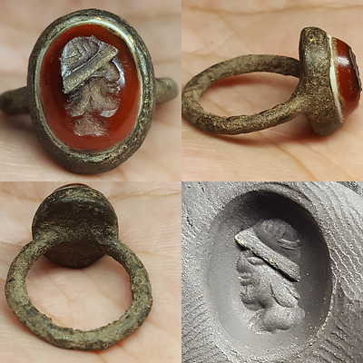 Bronze Rare Old Face Bronze Wonderful Ring #L