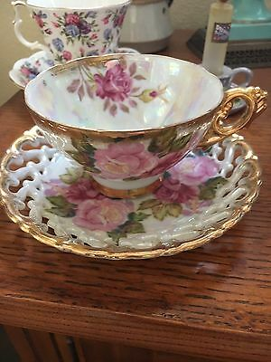Royal Sealy China Pedestal Tea Cup Saucer Pinks Green Yellow Roses Gold accents