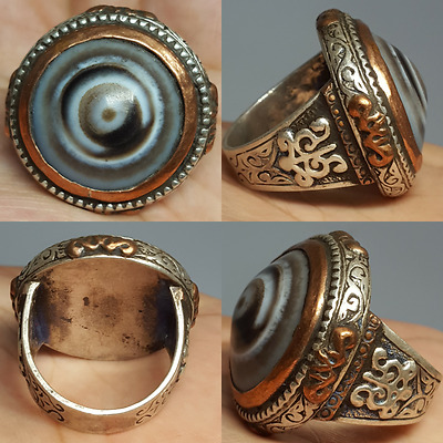 Agate Yemeni Rare Old Sulaimany stone Silver Ring #L