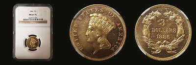 1886 $3 Three Dollar NGC MS61 Proof Like