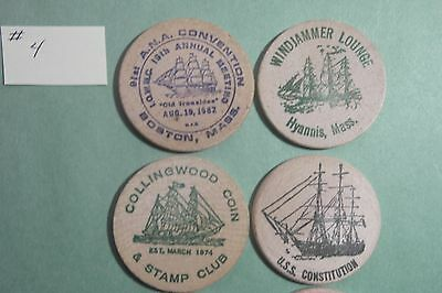 6 Different Wooden Nickels of Sailing Ships #4