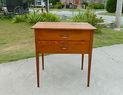 19th Century Country Pine Peged Two Drawer Kitchen Work Table