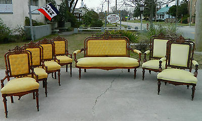 Walnut Victorian Parlor Set~Sofa~2 Arm Chairs~4 Side Chairs w/ Carved  Crest