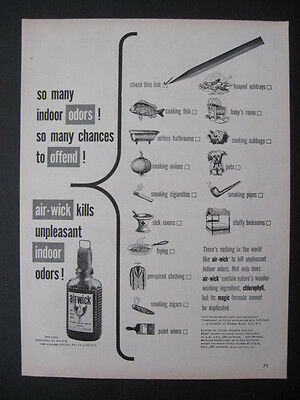 "1950 Air-Wick Kills Unpleasant Indoor Ordors! ""Check This List"" Print Ad Page"
