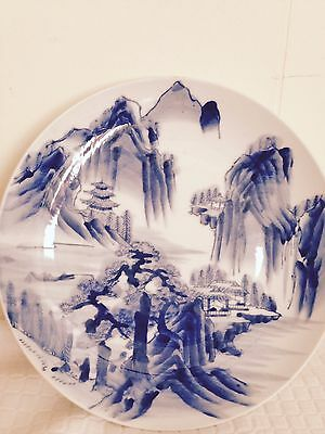 Elegant Vintage Japanese Blue And White Charger/tray. Signed. 9 1/2''