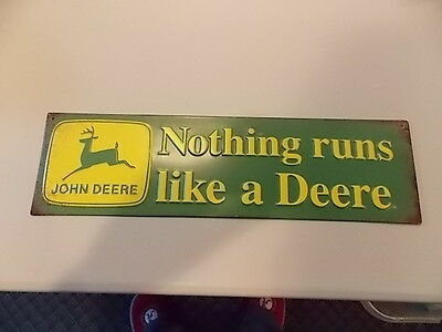 OLD vintage look JOHN DEERE Nothing runs like a Deere EMBOSSED METAL SIGN NEW