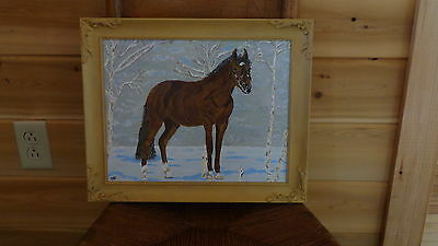 """Horse in the Birches/Snow (11"""" x 14"""") Painting by Artist"""