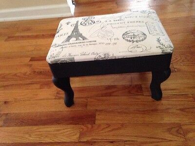 Vintage Wooden Footstool Upcycled w/ Annie Sloan Blk Paint And Wax French Fabric