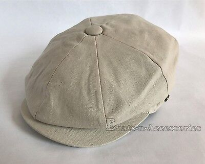 100% Cotton Men's Cabbie Newsboy Applejack Paperboy Snapbill Ivy Hat Solid Stone