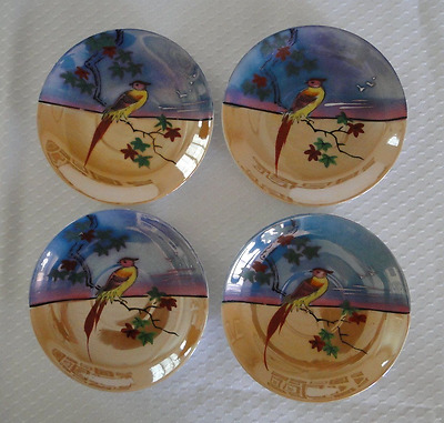 Lusterware Hand Painted 4 Saucers Plates Blue Orange Bird Parrot Japan