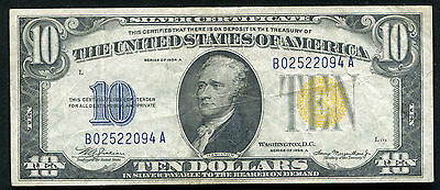 """Fr. 2309 1934-A $10 Ten Dollars """"North Africa"""" Silver Certificate Very Fine+"""
