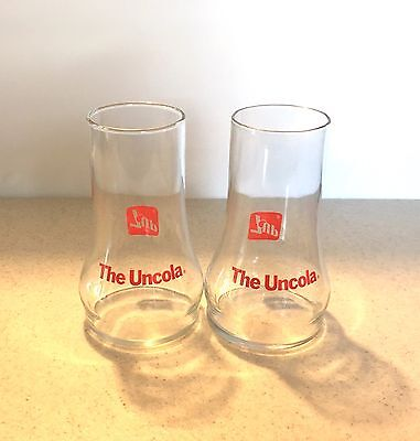 """Set of 2 Vintage Upside-Down 7up Glass Cups """"The Uncola"""" Great condition"""
