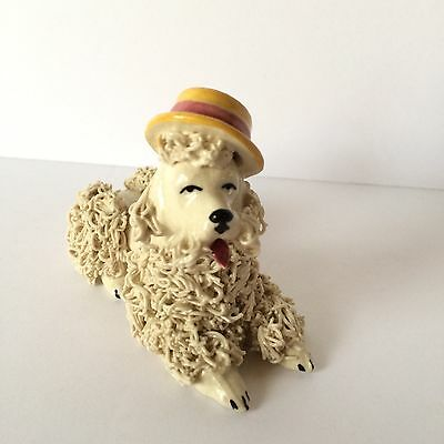 Vintage Reclining Spaghetti Poodle with Yellow Hat / Japan