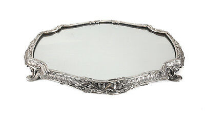 French Silverplate Engraved Footed Mirrored Plateau, 19th Century