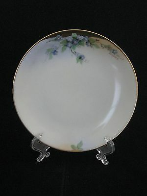 "Antique Hand Painted ""Thomas"" Floral Porcelain Plate Bavaria Signed Everett"