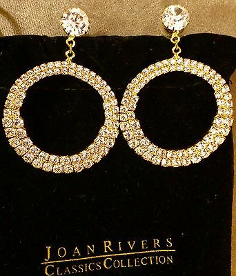 """(New worth $90) The Joan Rivers Classics Collection-Swarovski Hoop 2"""" Hoops! QVC"""
