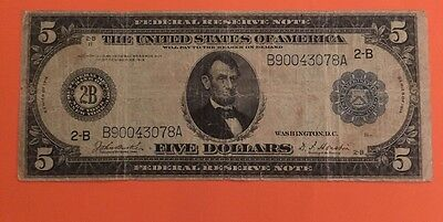 Fr 850A 1914 $5 Five Dollars Large Size Federal Reserve Note Very Fine