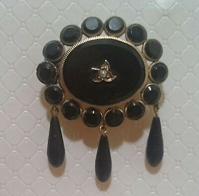 Antique Gold Filled Onyx, Enamel & Seed Pearl Mourning Brooch