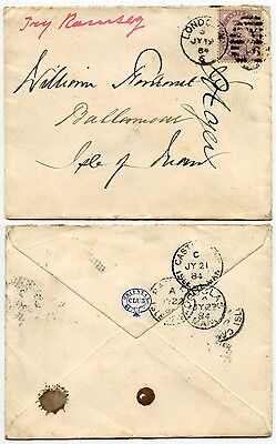 ISLE of MAN 1884 ORIENTAL CLUB ENVELOPE to BALLAMOAR + TRY RAMSEY STAMP INVERTED