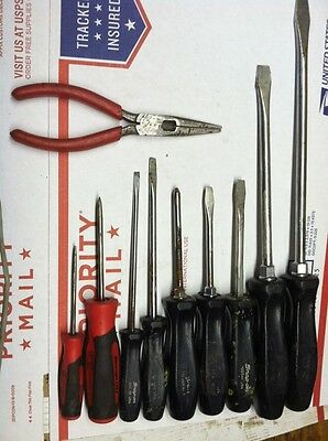 Snap On 9 Piece Screwdriver Punch Awl Set Needle Nose