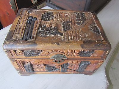 Antique Hand Carved Chinese Asian Camphor Wood Box Chest Brass Latch Old