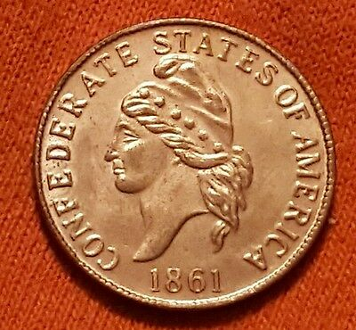 1861 Confederate States of America Civil War 1 Cent Token Medal