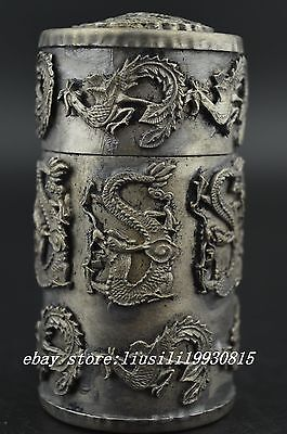 China Old Miao Silver Carving Noble Dragon & Phoenix Rare Unique Toothpick Box
