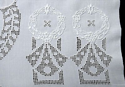 "DECO LINEN BATH TOWEL 50"" Mono ""S"" Embroidery Drawn Work - INTRICATE Hand Work!"