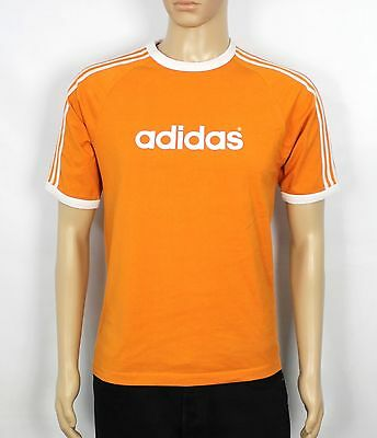 Adidas Originals Vintage Orange Mens T-Shirt Rare Tee Vtg Size S (St188)