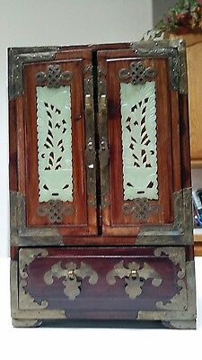 """Antique Chinese Wood & Brass 5 Drawer Jewelry Box with Jade Insets 12 1/4"""" T"""