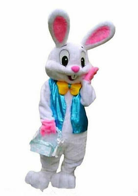 2017 New Easter Bunny Mascot Costume Rabbit Cartoon Fancy Dress Adult Size HOT
