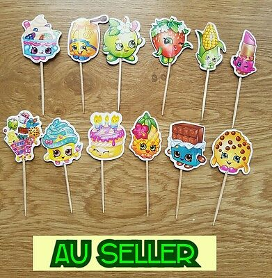 12 - 24pcs SHOPKINS CUPCAKE TOPPERS PICKS / CAKE TOPPERS / SHOPKINS PARTY