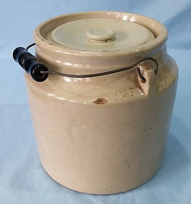 Antique Stoneware Crock With Lid And Wire Bale Handle