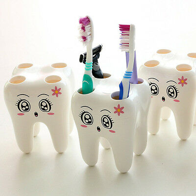 Cartoon 4 Hole Tooth Style Toothbrush Holder Bracket Container For Bathroom