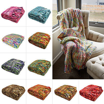 OSLO Knitted Weave Throw Rug Bed Runner Lounge Blanket 127 x 152cm -  10 Colours