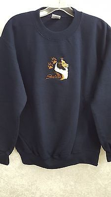 Sheltie / Shetland Sheepdog Embroidered On a Small Navy Crewneck