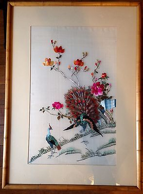 VTG LG ASIAN CHINESE FRAMED SILK EMBROIDERY PANEL Bird PEACOCK Rose PINK
