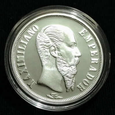One Peso Maximilian Mexico Silver Medal Proof