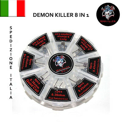 Kit 8 In 1 Coil Resistenze Prefatte Demon Killer Alien Fused Clapton Quad Tiger