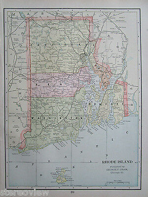 1901 RHODE ISLAND or CONNECTICUT State Map. RI CT  9x12