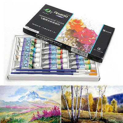 Professional 18 Colors 5ml Paint Tube Watercolor Draw Painting With 2pcs Brushes