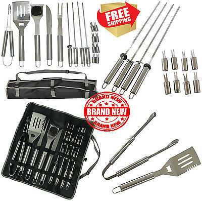 17 Piece Stainless Steel BBQ Grill Set Barbecue Accessories Grilling Kit Set New
