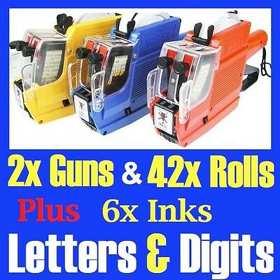 2x Alphanumeric Tag Price Gun Labeller + 40 Rolls 2 Line 10 Letters 10 Numbers