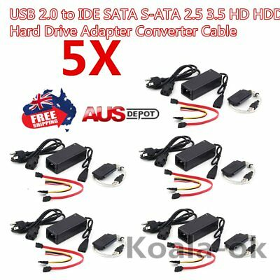 5USB 2.0 to IDE SATA S-ATA 2.5 3.5 HD HDD Hard Drive Adapter Converter Cable LOT