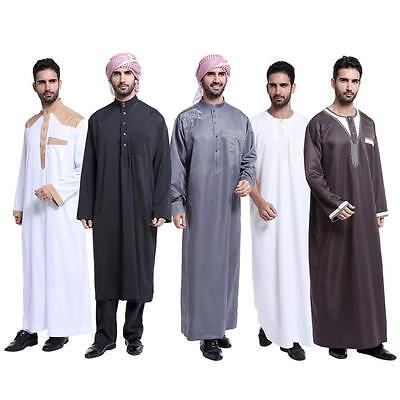 Mens Thobe Saudi Abaya Galabeya Arabic Kaftan Muslim Dress Dishdasha Maxi Dress