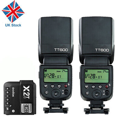 2x Godox TT600 2.4G Wireless Camera Flashes+ X1T-C Transmitter Trigger for Canon
