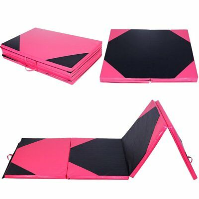 Thick 4 Folding Panel Gymnastics Mat Football Pattern Fitness Exercise DE