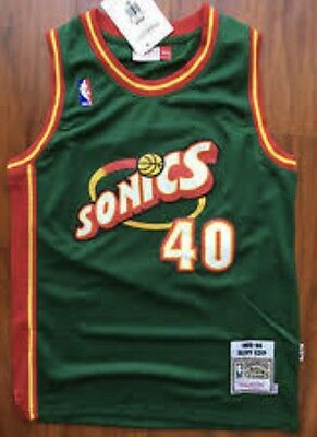 Seattle Supersonics  Green NBA Jersey #40 Shawn Kemp
