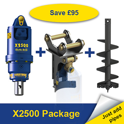 Auger Torque X2500 Earth Drill Package for Digger / Excavator 1.5-3 Ton